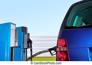 auto, station, erdgas