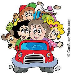 auto, vakantie, gezin, vrolijke