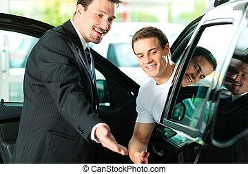 auto verkoper, aankoop, man