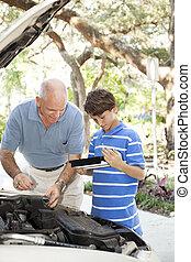 auto verstelen, copyspace, vader, zoon