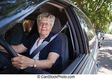 auto vrouw, oud, geleider