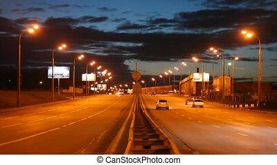 auto's, avond, straat