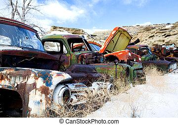 auto's, junkyard, oud