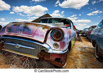 auto's, oud, verlaten