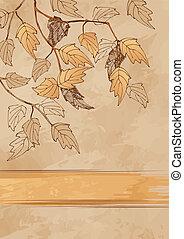 autumn leaves, grunge, achtergrond