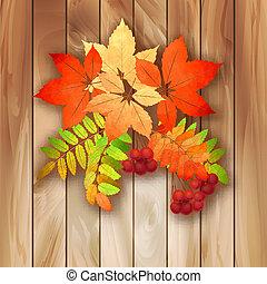 autumn leaves, hout, achtergrond, textuur