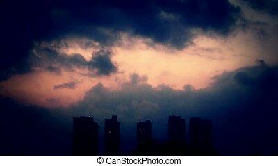 avond, hemel, wolken, dekking, donker