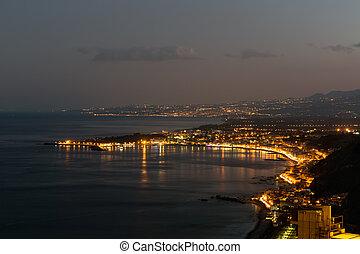 avond, italië, taormina, kust, siciliaan, sicilië