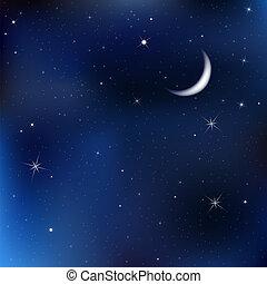 avond lucht, sterretjes, maan