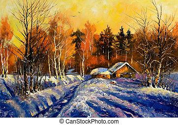 avond, winter, dorp