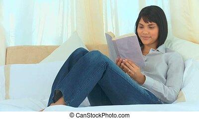 aziaat, lezende , schattig, boek, vrouw