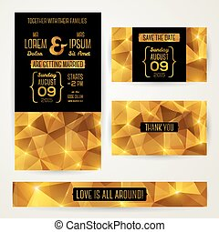 b, goud, abstract, uitnodiging, polygonal, mal, trouwfeest, kaarten