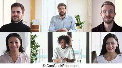 babbelen groepering, zakelijk, conferencing, mensen, anders, collage, video