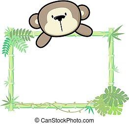 baby, bamboe, aap, frame