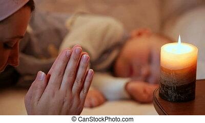 baby, bed, moeder, biddend, slapende