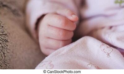 baby, het liggen, klein meisje, bed