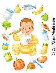 baby, items., achtergrond, weinig; niet zo(veel), voedingsmiddelen, schattig