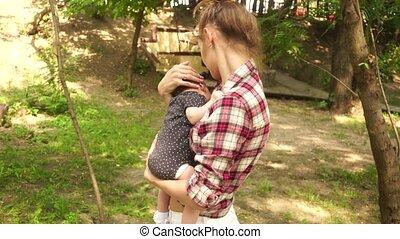 baby, jonge, armen, mamma, haar
