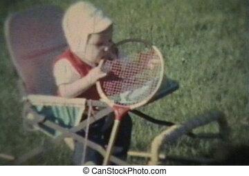 baby, kauwt, racket, jongen, badminton