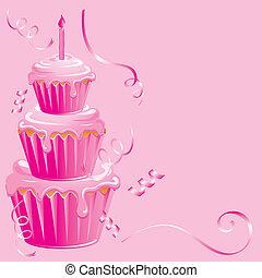 baby meisje, jarig, cupcake