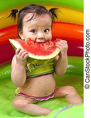 baby meisje, pool wading
