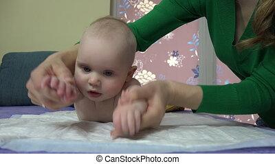 baby, oefening, moeder