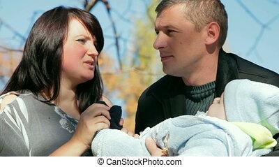 baby, ouders, vrolijke