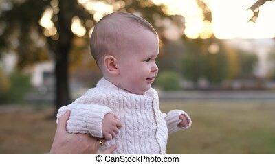 baby, park, wandelende, vader