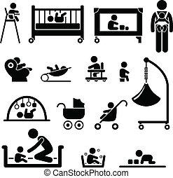 baby, pasgeboren, kind, uitrusting, geitje