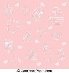 baby, roze, meisje, communie, achtergrond