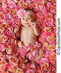 baby, rozen, bed