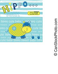baby, schattig, achtergrond, nijlpaard