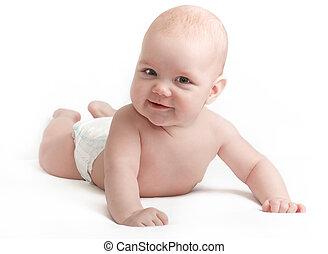 baby, schattig, het glimlachen