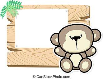baby, schattig, plank, aap, meldingsbord