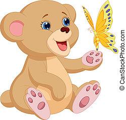 baby, schattig, spelend, beer, spotprent