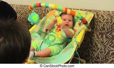 baby, schattig, stoel, zijn
