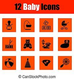 baby, set, iconen
