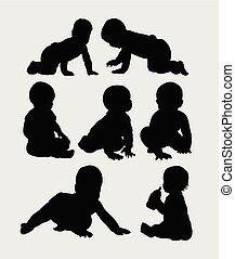 baby, silhouette, kruipen