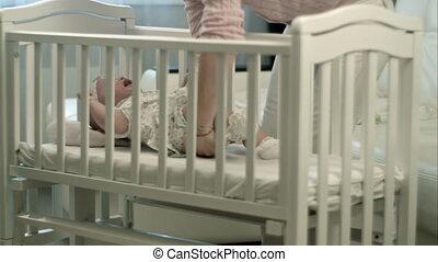 baby, slaperig, wiegje