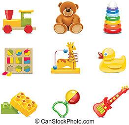 baby speelgoed, icons., vector, speelgoed