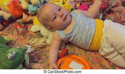 baby, spelend, speelgoed