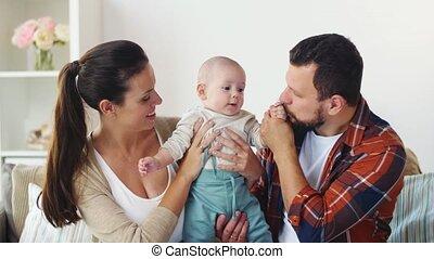 baby, thuis, gezin, vrolijke