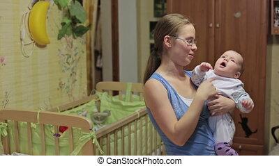baby, thuis, moeder