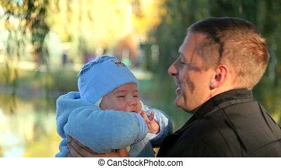 baby, vader, vrolijke