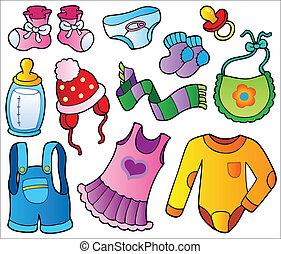 baby, verzameling, kleren