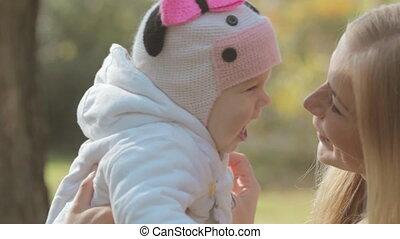 baby, vrolijke , park, gezin, natuur