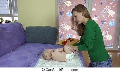 baby, vrouw, oefening