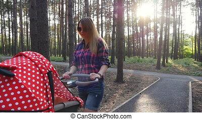 baby, wandelende, park, wandelaar, moeder