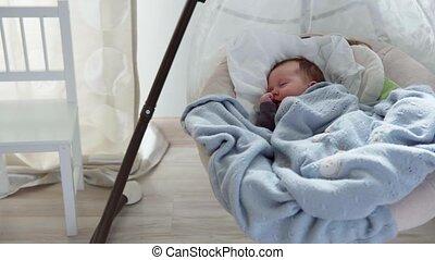 baby, wiegje, het slingeren, slapende