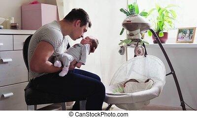 baby, zetten, wiegje, vader